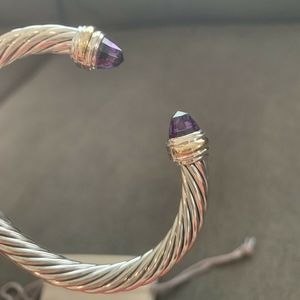 David Yurman Bracelet Amethyst and Gold 7mm